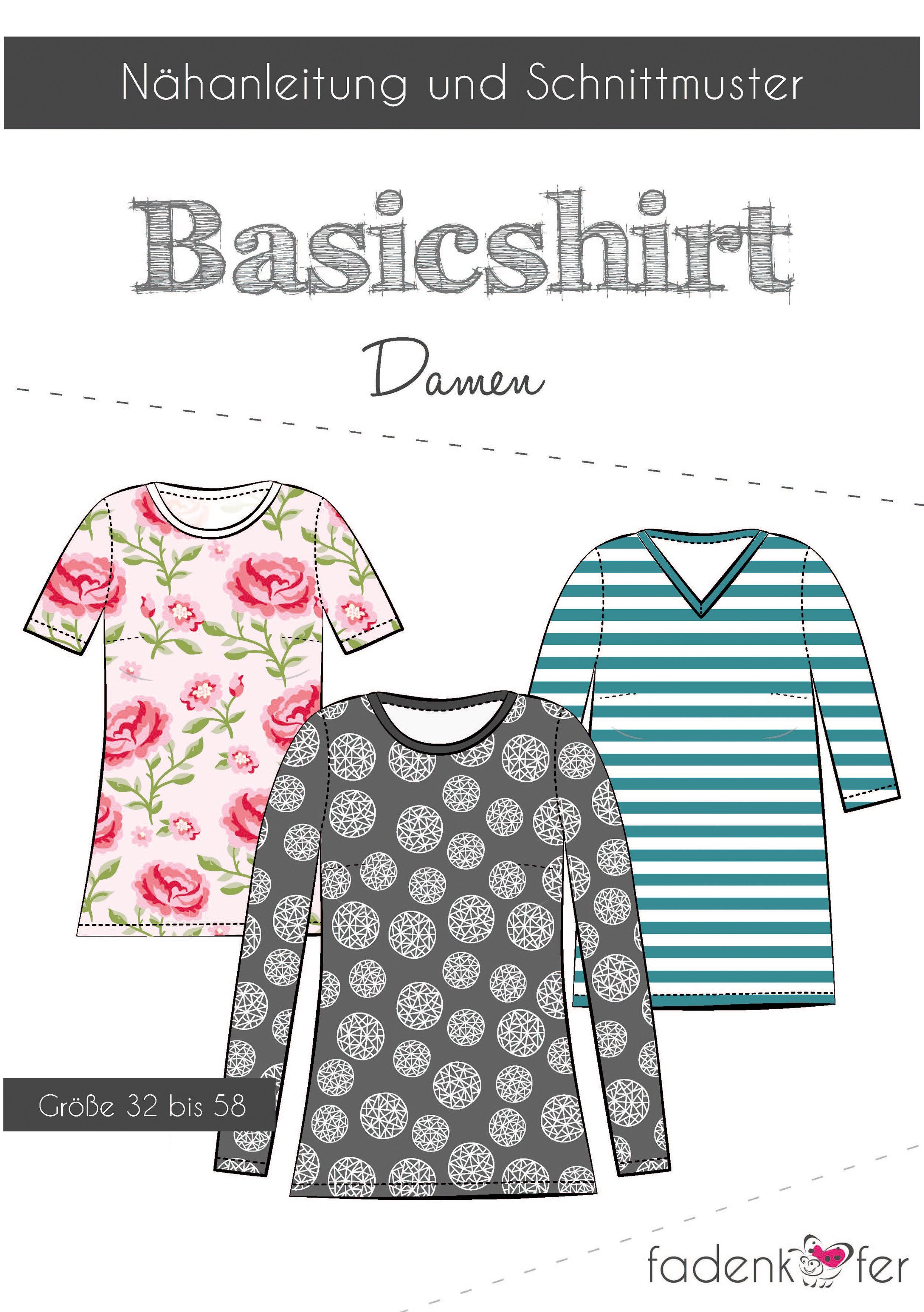 Papierschnittmuster Basicshirt Damen   Fadenkäfer
