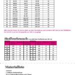 Softshelljacke Maßtabelle und Stoffverbrauch Damen
