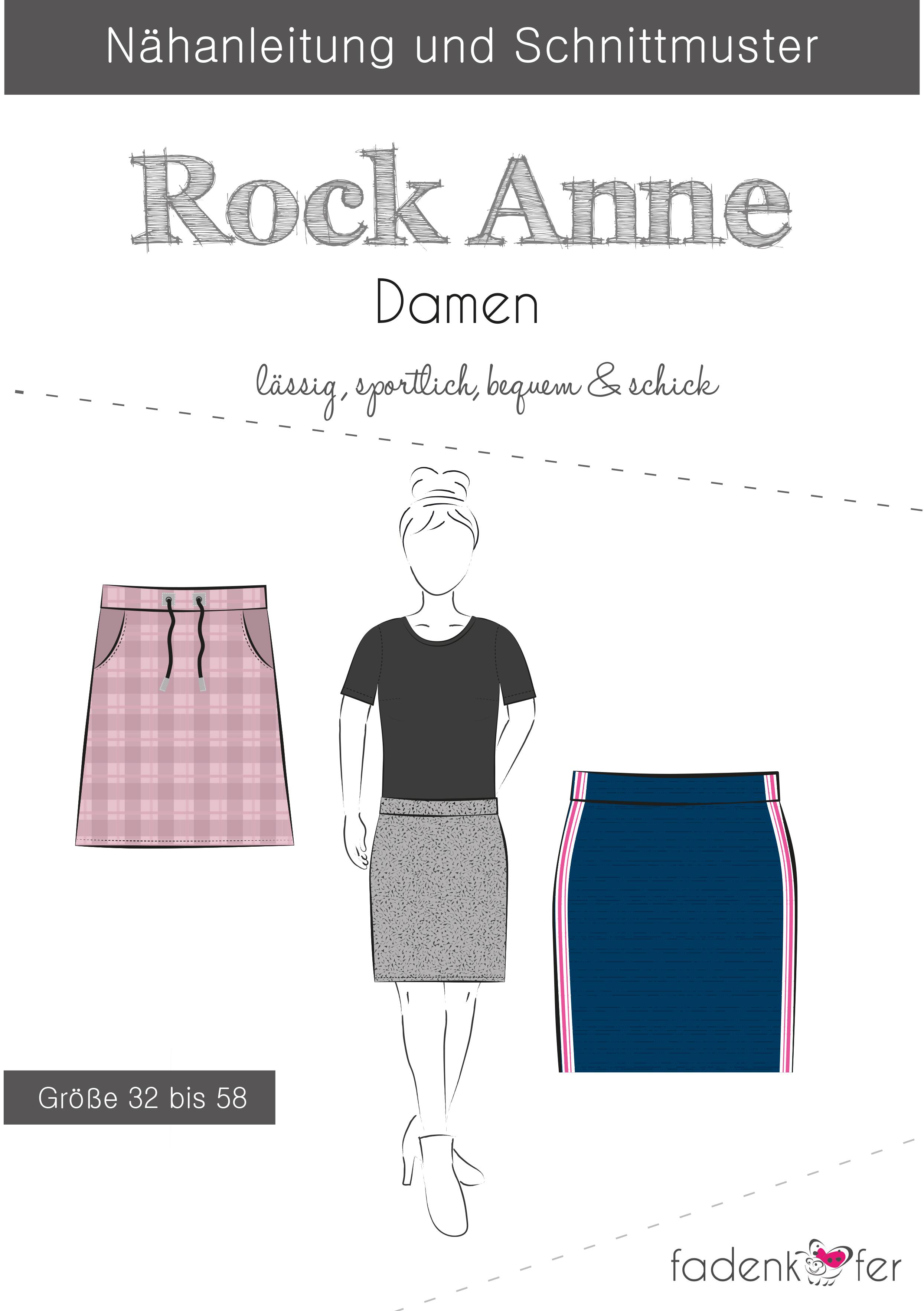 online store fe82a a4c3f Papierschnittmuster Rock Anne Damen